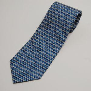 Firenze 100% Silk Shades of Blue & White Oval Tie